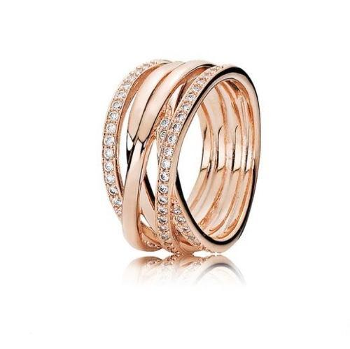 Anillo Entrelazado Plata Esterlina 925 Rose Gold 18k #7