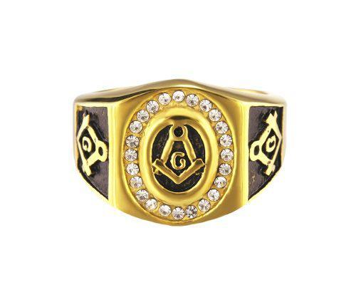 Anillo Mason Simbolo Masonico Dorado Con Negro F-545