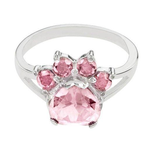 Anillo Patita De Perro Cristales Swarovski Elements Rosa