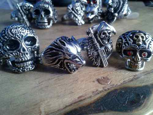 Anillo Skull Biker, Craneo, Calavera, Lobo, Sons Of Anarchy
