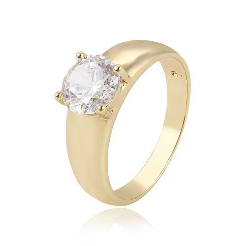 Bonito Anillo Solitario De Oro Con Zirconia Calidad Diamante