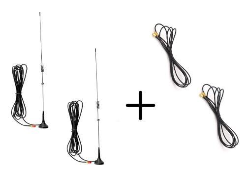 2 Antena Auto Radios Baofeng + 2 Extensión De 2 Mts