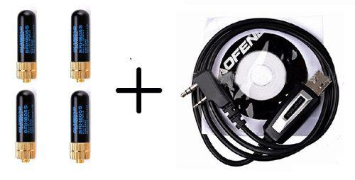 4 Mini Antenas + Cable Con Cd Para Programar Radios Baofeng