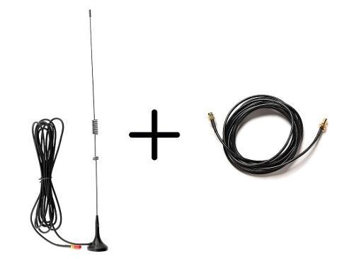 Antena Auto Radios Baofeng + Cable Extensión De 10 Mts