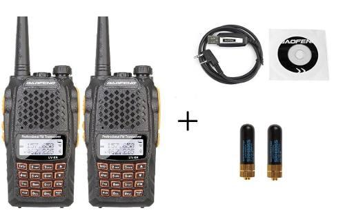 Dos Radio Baofeng Uv-6r Vhf/uhf 5w.+ Cable + 2 Mini Antenas