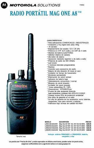 Equipo De Radiocomunicación Portátil Motorola Mag One A/8