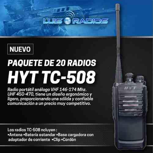 Hytera Tc508 Paquete De 20 Radios Incluyen Manos Libres