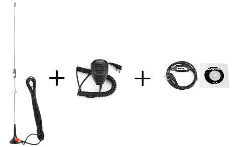 Kit Microfono Baofeng + Antena Para Automovil + Cable Con Cd