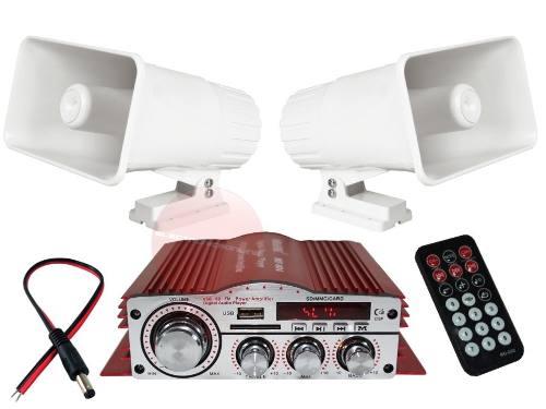 Kit Perifoneo Amplificador Bluetooth Usb Y 2 Trompetas Auto