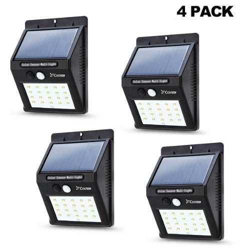 4 Lámparas Solar 20 Led, Con Sensor De Movimiento