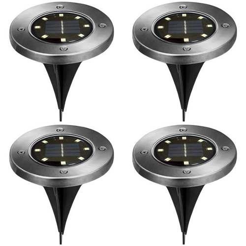 4 Pcs Lampara Led 8w Solar Recargable Tipo Disk Lights