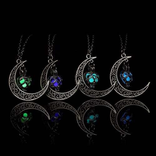 2 Piezas Collar Luna Corazón Brilla En La Obscuridad