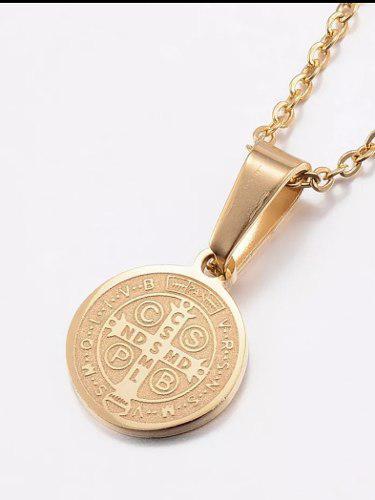 3 Medallas De San Benito Y Cadena Acero Inoxidable