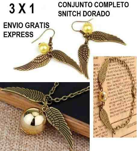3 X 1 Collar Aretes Y Pulsera Snitch Harry Potter Envio Grat