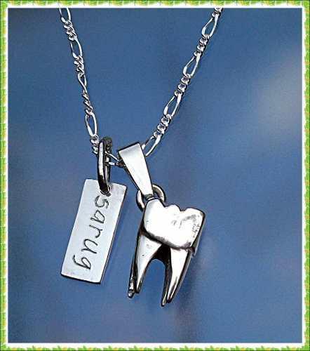 Cadena Dije Personalizado Placa Muela Grande Dentista Plata