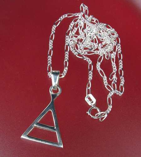 Cadena Dije Triángulo Biseccinado Wicca Símbolo Aire Plata