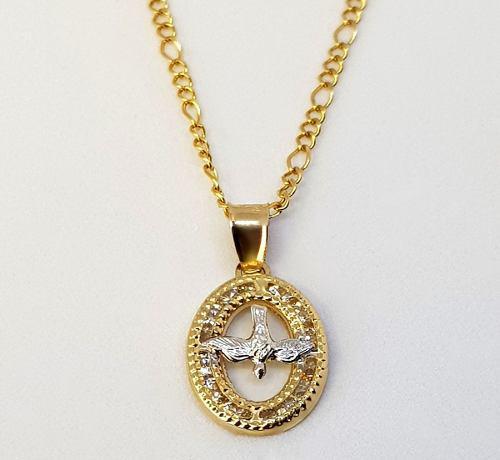 Cadena Medalla Dije Espíritu Santo Bautizo Oro 10k Solido
