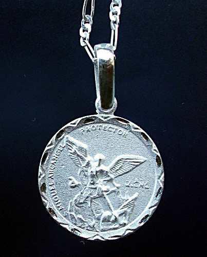 Cadena Y Dije Medalla San Miguel Arcángel En Plata Ley.925