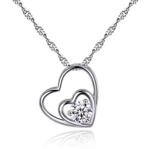 Cadena Y Dije Plata.925 Corazón Zirconia Mujer Joyería