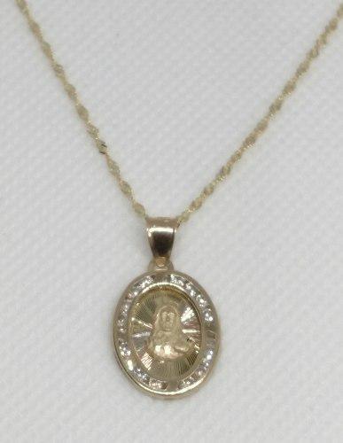 Cadena Y Medalla Bautizó Sagrado Corazón Oro 10 Kilates