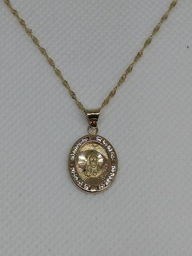 Cadena Y Medalla Bautizo Oro 10 Kilates Sagrado Corazón