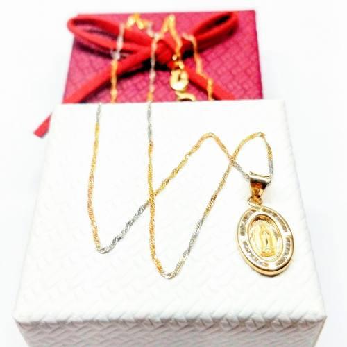 Cadena Y Medalla Oro 10kt Bautizo Virgen De Guadalupe 45 Cms