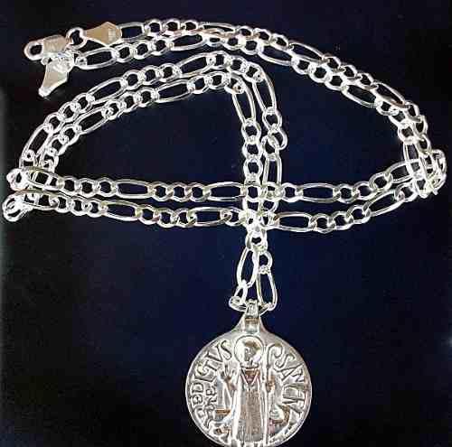 Cadena Y Medalla San Benito Diseño Antiguo En Plata.925