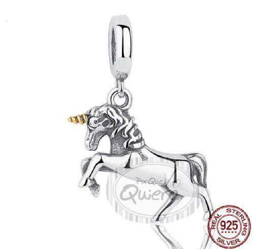 Charms Compatible Pandora 100% Plata Caballo Unicornio Dije