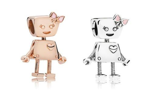 Charms De Robot Oro Rosa Y Plateado Estuche Y Envio Gratis
