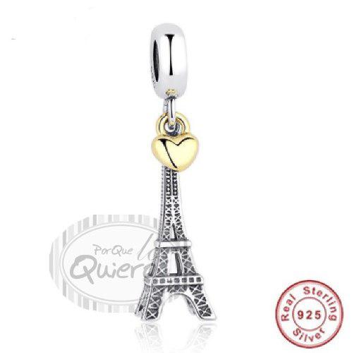 Charms Dije Comparible Pulsera Pandora Torre Eiffel Plata