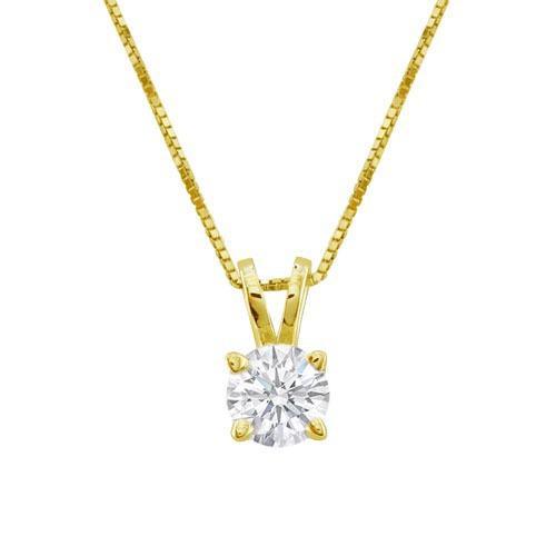 Colgante De Diamante De.50 Cts. Y Cadena De Oro 14k.