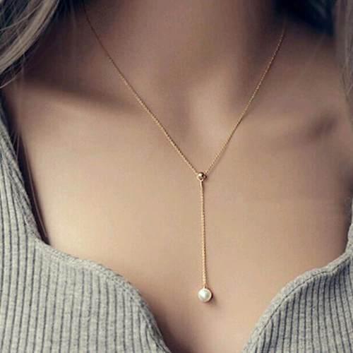 Collar Ajustable Dorado Con Dije De Imitacion De Perla