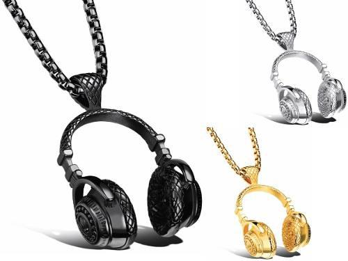 Collar Audífonos Dj + Titanio + Cadena Gratis + Envío