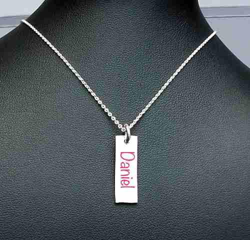 Collar Cadena Dije Amor Personalizado Graba Placa Plata Ley