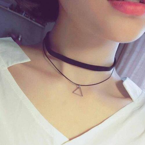 Collar Choker Gargantilla Dije Triangulo Moda Terciopelo