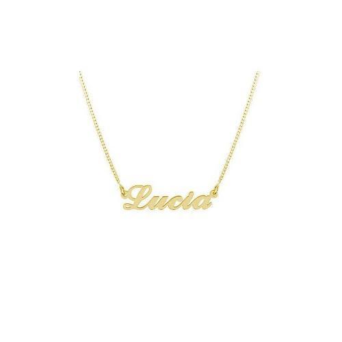 Collar Con Nombre Estilo carrie Plata Chapada En Oro 18k