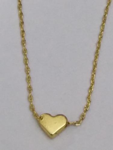 Collar Corazón Chapa Oro 22k Envio Gratis