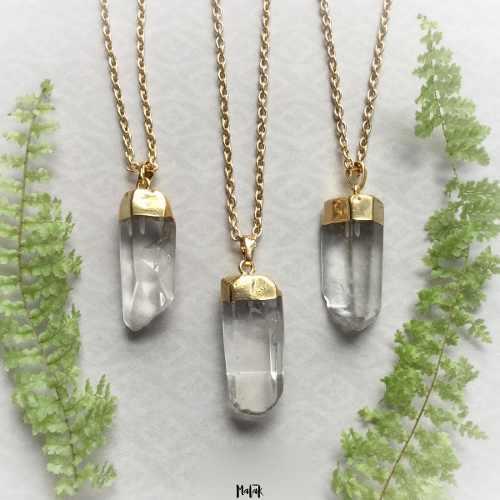 Collar Cuarzo Cristal De Roca Transparente En Bruto Natural