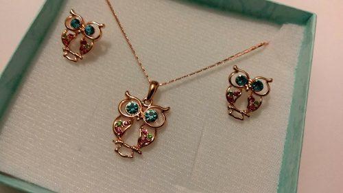 Collar De Buho Oro Rosa Con Aretes Y Cristales Envio Gratis