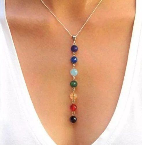 Collar De Cuarzo Natural- Equilibra 7 Chakras Energía