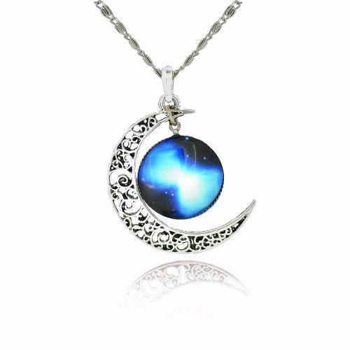 Collar De Luna Con Cristal De Galaxia Moda 2016