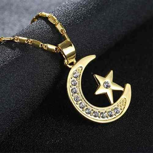 Collar De Luna En Oro 18k Y Estrella Swarovski Elements.