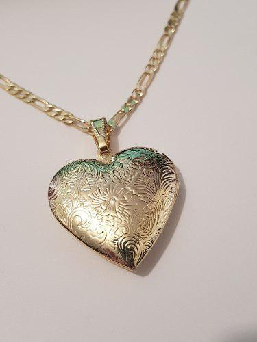 Collar De Portaretrato De Corazon De Oro Lam. 2.5 Cm Envio G