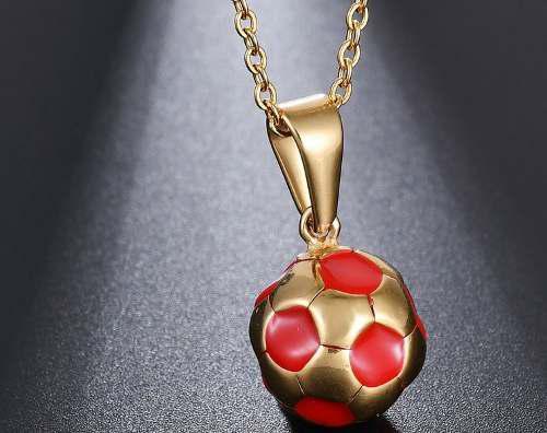 Collar Dije Balón Fútbol Soccer Oro Laminado Envío Gratis