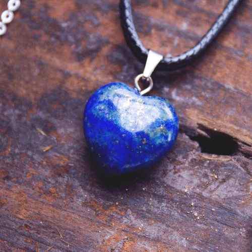 Collar Dije Corazón Cuarzo Lapis Lapislázuli Lazurita