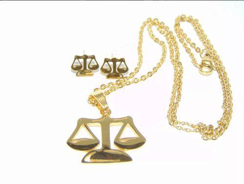 Collar Dije Y Aretes Balanza Abogado Justicia Envío Gratis
