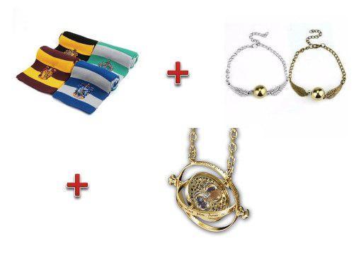 Collar Giratiempo + Bufanda Harry Potter + Pulsera Snitch
