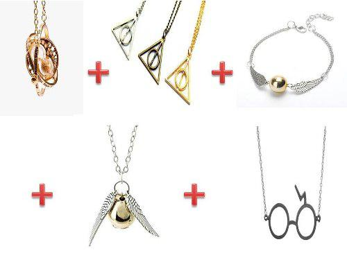 Collar Giratiempo+collar Snitch+reliquias+pulsera Snitch+gaf
