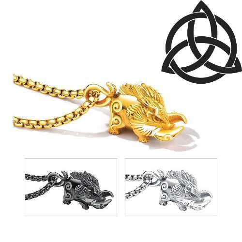 Collar Jabalí Celta Titanio Amuleto Valentía + Cadena