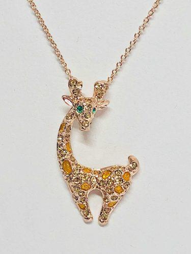 Collar Jirafa Brillantes Swarovski Y Oro Rosa 18k Lam.